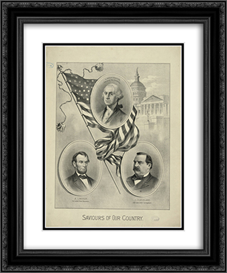George Washington, Abraham Lincoln, and Grover Cleveland, with the U.S. Capitol in background. 20x24 Black or Gold Ornate Framed and Double Matted Art Print by LOC-00996u
