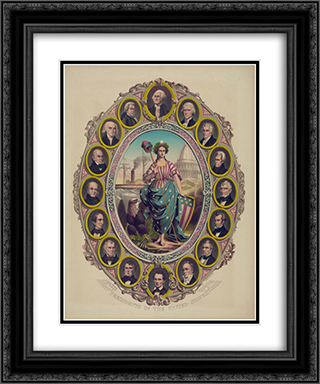 Presidents of the United States 20x24 Black or Gold Ornate Framed and Double Matted Art Print by LOC-01238u