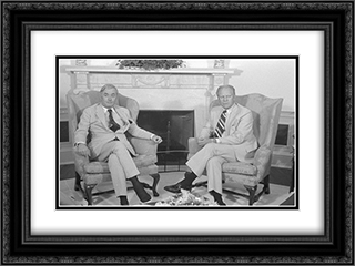 UN Ambassador Daniel P. Moynihan and President Gerald Ford, seated in armchairs, in front of a fireplace 24x18 Black or Gold Ornate Framed and Double Matted Art Print by LOC-01509u