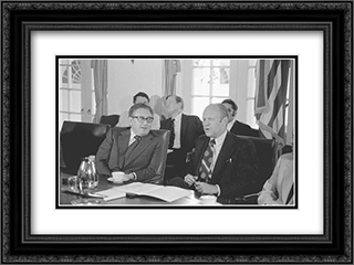 Secretary of State Henry Kissinger and President Gerald Ford seated at a conference table in the White House, during a cabinet meeting 24x18 Black or Gold Ornate Framed and Double Matted Art Print by LOC-01510u
