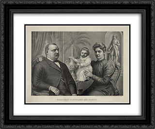 President Cleveland and family 24x20 Black or Gold Ornate Framed and Double Matted Art Print by LOC-01868u