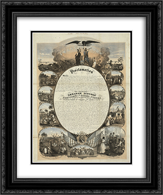 Emancipation Proclamation 20x24 Black or Gold Ornate Framed and Double Matted Art Print by LOC-02040u