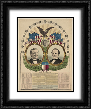 National Democratic chart, 1876--For president, Samuel J. Tilden, for vice president, Thomas A. Hendricks 20x24 Black or Gold Ornate Framed and Double Matted Art Print by LOC-02044u