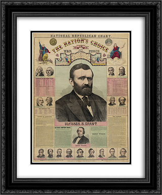 The Republican chart. The nation's choice in war and peace Ulysses S. Grant 20x24 Black or Gold Ornate Framed and Double Matted Art Print by LOC-02045u