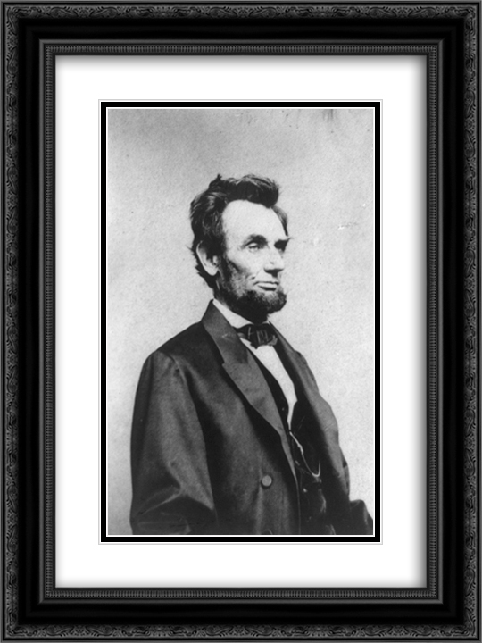 Half-length portrait of President Abraham Lincoln, facing right 18x24 Black Ornate Framed and Double Matted Art Print by LOC-3a10738u