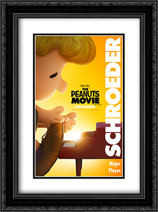 The Peanuts Movie 18x24 Double Matted Black Ornate Framed Movie Poster Art Print
