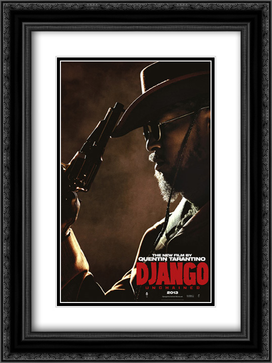 Django Unchained 18x24 Double Matted Black Ornate Framed Movie Poster Art Print