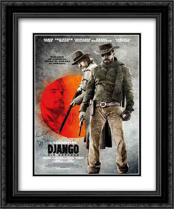 Django Unchained 20x24 Double Matted Black Ornate Framed Movie Poster Art Print