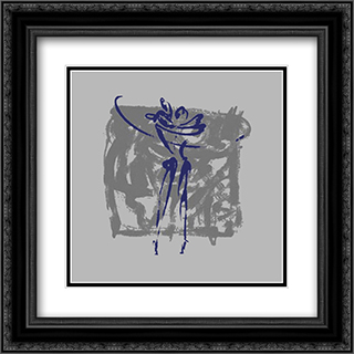Body Language XI 2x Matted 16x16 Black Ornate Framed Art Print by Alfred Gockel