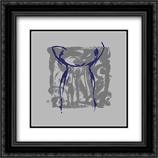 Body Language XII 2x Matted 16x16 Black Ornate Framed Art Print by Alfred Gockel