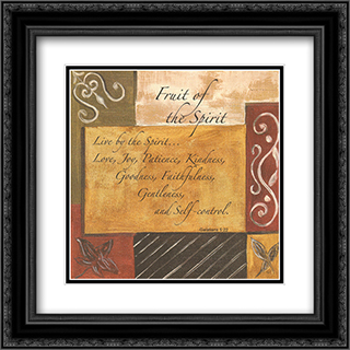 Words to Live By, Decor...Fruit of the Spirit 2x Matted 12x24 Black Ornate Framed Art Print by Debbie DeWitt