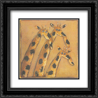 Herve Maury - Trois girafes 2x Matted 16x16 Black Ornate Framed Art Print by Herve Maury