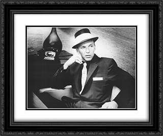 Frank Sinatra 24x20 Black Ornate Framed and Double Matted Art Print by Movie Poster