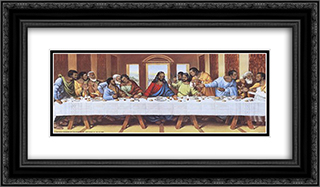 Black Last Supper 2x Matted 24x12 Black Ornate Framed Art Print by Tobey