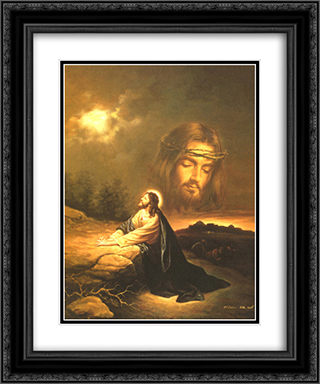 Praying at Gethsemane 2x Matted 20x24 Black Ornate Framed Art Print by Myung Bo