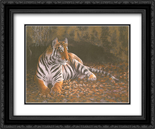 Tiger's Lair 2x Matted 20x24 Black Ornate Framed Art Print by Michael Boym