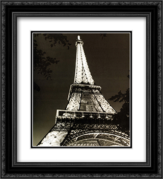 Eiffel Tower 2x Matted 20x24 Black Ornate Framed Art Print by Chris Bliss