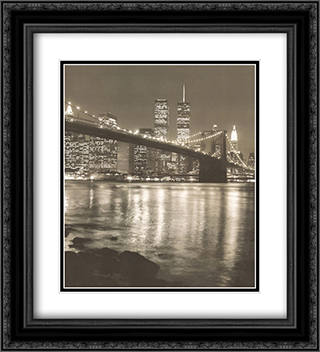 Night View Brook Brdgman Skyline 2x Matted 20x24 Black Ornate Framed Art Print by Chris Bliss
