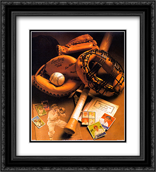 Baseball 2x Matted 20x24 Black Ornate Framed Art Print by Michael Harrison