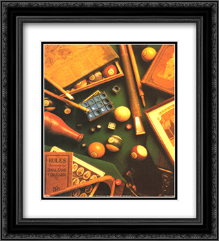 Billiards 2x Matted 20x24 Black Ornate Framed Art Print by Michael Harrison