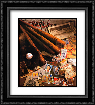 Baseball II 2x Matted 20x24 Black Ornate Framed Art Print by Michael Harrison