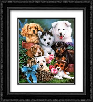 Puppies I 2x Matted 20x24 Black Ornate Framed Art Print by Jenny Newland