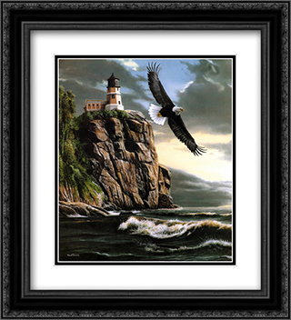 Eagle Over Lighthouse 2x Matted 20x24 Black Ornate Framed Art Print by Kevin Daniel