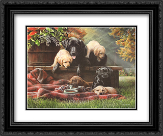 Cozy Moments 2x Matted 24x20 Black Ornate Framed Art Print by Kevin Daniel