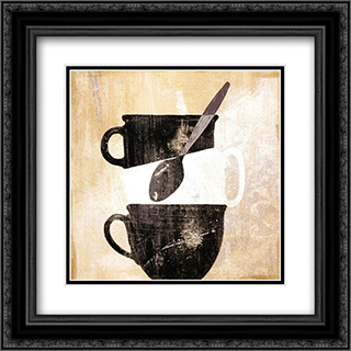 Cuisinoir II 2x Matted 16x16 Black Ornate Framed Art Print by Daphne Brissonnet