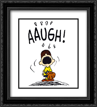Charlie Brown Baseball Aaugh 2x Matted 20x24 Black Ornate Framed Art Print by Peanuts