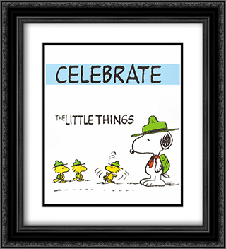 Celebrate 2x Matted 20x24 Black Ornate Framed Art Print by Peanuts