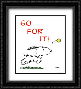 Go For It 2x Matted 20x24 Black Ornate Framed Art Print by Peanuts
