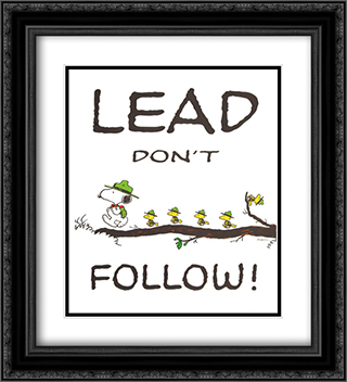Lead Donot Follow 2x Matted 20x24 Black Ornate Framed Art Print by Peanuts