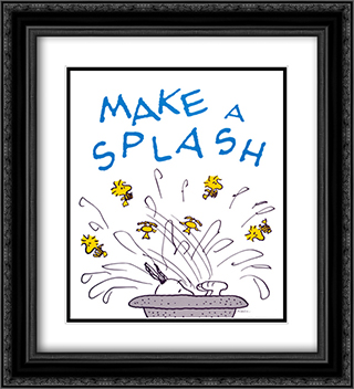 Make a Splash 2x Matted 20x24 Black Ornate Framed Art Print by Peanuts