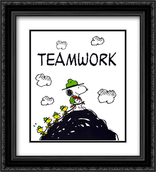 Teamwork 2x Matted 20x24 Black Ornate Framed Art Print by Peanuts