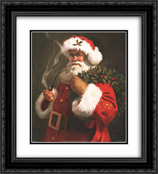 Spirit Of Santa 2x Matted 20x24 Black Ornate Framed Art Print by Tom Browning