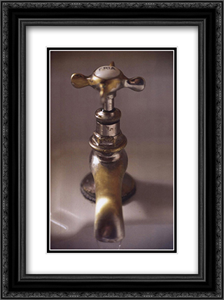 Bronze Faucet 2x Matted 16x20 Black Ornate Framed Art Print by Calixto Berrocal