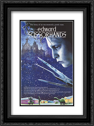 Edward Scissorhands (Movie Sheet) 18x24 Black Ornate Framed and Double Matted Art Print by Movie Poster