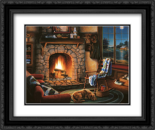 Cozy Cabin-Small 2x Matted 20x24 Black Ornate Framed Art Print by Judith Gibson