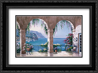 Mediterranean Arch 2x Matted 21x17 Black Ornate Framed Art Print by Sung Kim