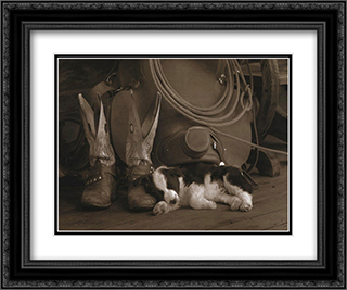 Cowboy Puppy 2x Matted 21x17 Black Ornate Framed Art Print by Robert Dawson