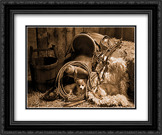 Waitin For The Boss 2x Matted 17x21 Black Ornate Framed Art Print by Robert Dawson