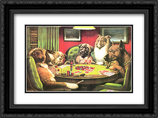 Is the St. Bernard Bluffing? / Dogs Playing Poker 2x Matted 22x16 Black Ornate Framed Art Print by Cassius Marcellus Coolidge