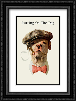 Dog in Hat and Bow Tie Smoking a Cigar 2x Matted 16x22 Black Ornate Framed Art Print