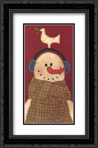 Peace Snowman 2x Matted 12x20 Black Ornate Framed Art Print by Ray and Dawn Anderson