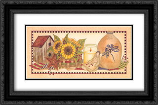 Sunflowers Aglow 2x Matted 24x14 Black Ornate Framed Art Print by Linda Spivey