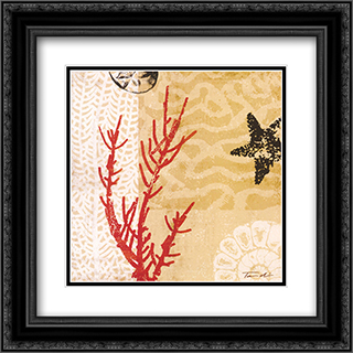 Coral Impressions I 2x Matted 20x20 Black Ornate Framed Art Print by Tandi Venter