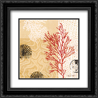 Coral Impressions II 2x Matted 20x20 Black Ornate Framed Art Print by Tandi Venter