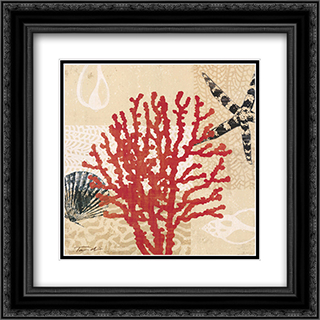 Coral Impressions III 2x Matted 20x20 Black Ornate Framed Art Print by Tandi Venter