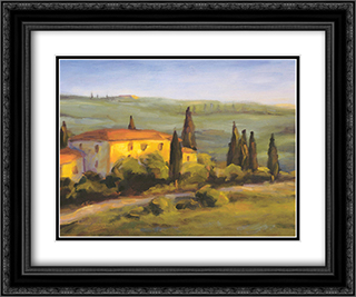 A Tuscan Morning 2x Matted 20x16 Black Ornate Framed Art Print by Michael Downs